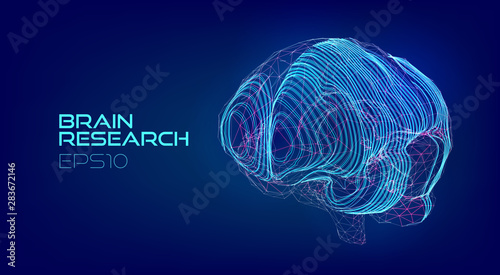 Fotografía  Brain scanning medical hologram. Cyberpunk biotechnology virtual