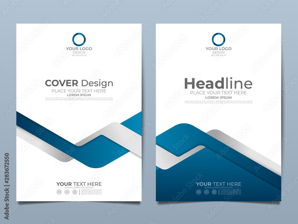 Fototapeta Blue corporate identity cover business vector design, Flyer brochure advertising abstract background, Leaflet Modern poster magazine layout template, Annual report for presentation.
