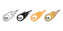 Skull Fire Vector Halloween Icon Logo Symbol Pirate Bone Ghost Character Cartoon Doodle Illustration Design