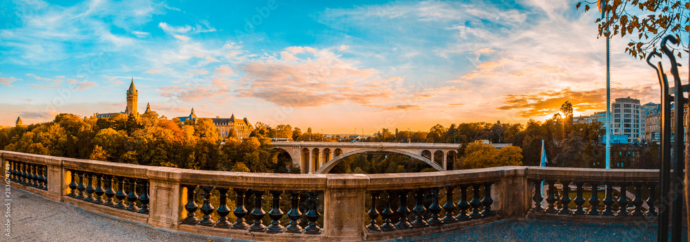 Fototapety, obrazy: Panoramic view of historical Adolph Bridge, Luxembourg