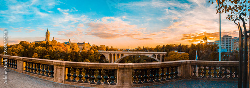 Obraz Panoramic view of historical Adolph Bridge, Luxembourg - fototapety do salonu