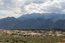 Panoramic View Of Town Of Sparta, Peloponnese, Greece With Taygetus Mountains In The Background.