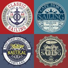 Sailing Yacht Club Vintage Nautical  Vector Badges For T Shirt