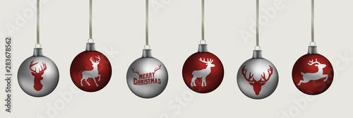 Fotografie, Tablou  Banner Weihnachtskugeln mit Rentieren