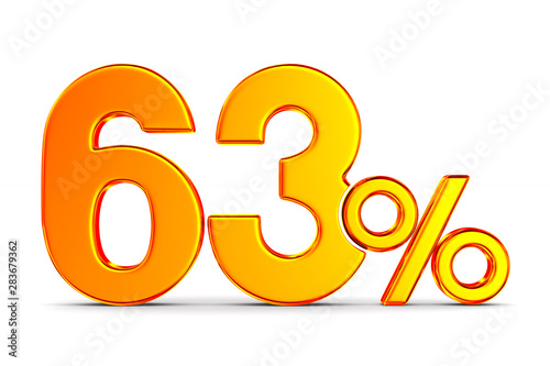 Tela  sixty three percent on white background. Isolated 3D illustration