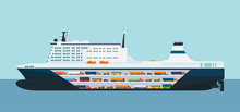 Roro Carrier Ship Isolated. Vector Flat Style Illustration.