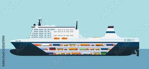 Photo Roro carrier ship isolated. Vector flat style illustration.