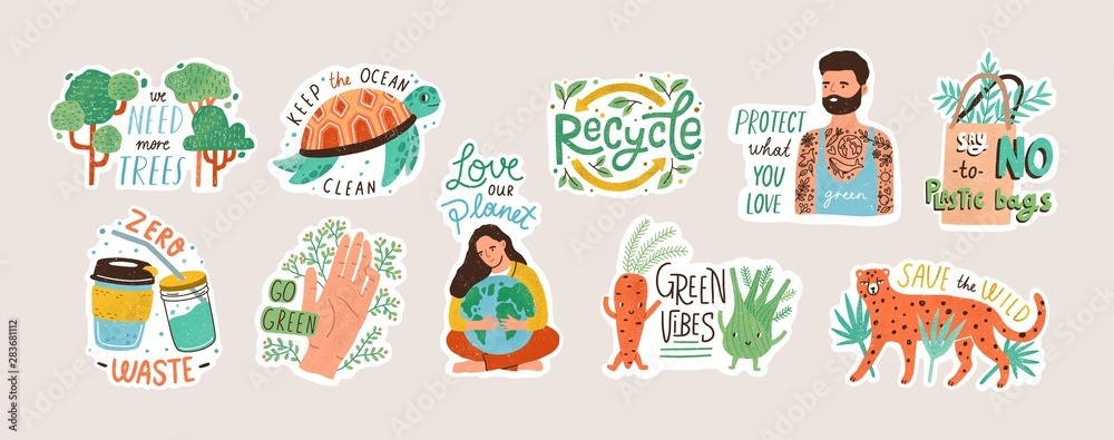 Fototapeta Collection of ecology stickers with slogans - zero waste, recycle, eco friendly tools, environment protection. Bundle of decorative design elements. Flat cartoon colorful vector illustration.