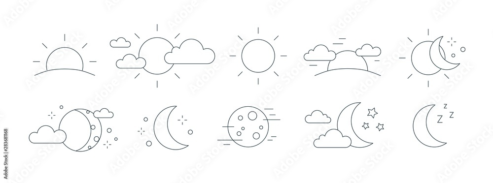 Fototapety, obrazy: Collection of rising or setting sun, moon phases, clouds and stars symbols. Bundle of day and night time pictograms drawn with black contour lines on white background. Monochrome vector illustration.