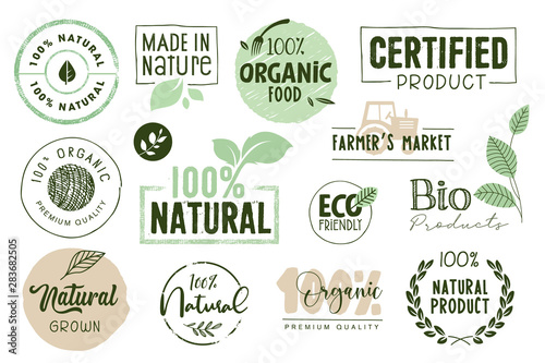 Fototapeta Organic food, farm fresh and natural products labels and elements collection. Vector illustration for food market, e-commerce, restaurant, healthy life and premium quality food and drink promotion. obraz