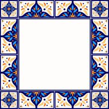 Tile Frame Vector. Vintage Border Pattern. Traditional Ornamental Ceramic Decor Design. Mexican Talavera, Sicily Majolica, Spanish Mosaic, Portugal Azulejos, Moroccan Motifs.
