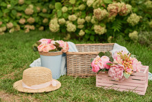 Picnic Decor With Pink Flowers...