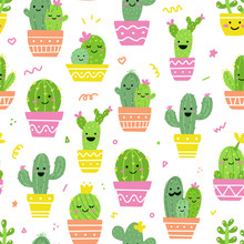 Vector Cactus Seamless Pattern. Kawaii Cacti With Fun Faces. Ideal For Baby Textiles Or Wrapping Paper.