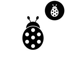 Ladybug  - White Vector Icon