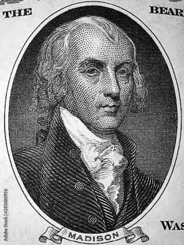 Valokuva  James Madison a portrait from old American Dollars