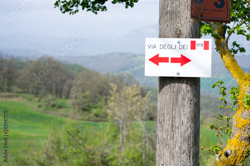 Direction sign on the Via degli Dei or The Gods way in the Apennines mountains i Wallpaper Mural