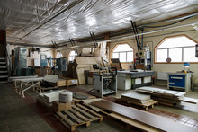 Woodworking Shop. Machine Tools, Tools, Devices For Processing Wood Products.
