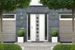 canvas print picture - 3D rendering Haus mit moderner Haustür mit Seitenteilen, Fenstern und Holz Fassadenelementen