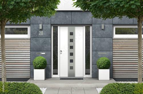 Photo  3D rendering Haus mit moderner Haustür mit Seitenteilen, Fenstern und Holz Fassa