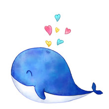 Cute Watercolor Whale Illustration With Hearts