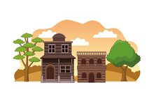 Western Town With Wooden Build...