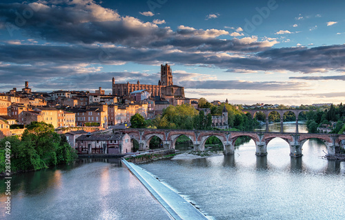 View on the old town of Albi in the morning Canvas Print