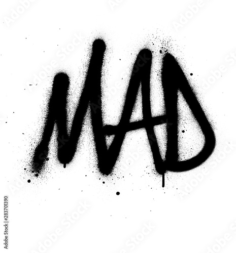 Photo graffiti mad word sprayed in black over white