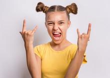 Portrait Of Funny Teen Girl Ma...