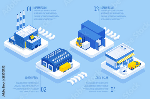 Isometric Logistics and Delivery Wallpaper Mural