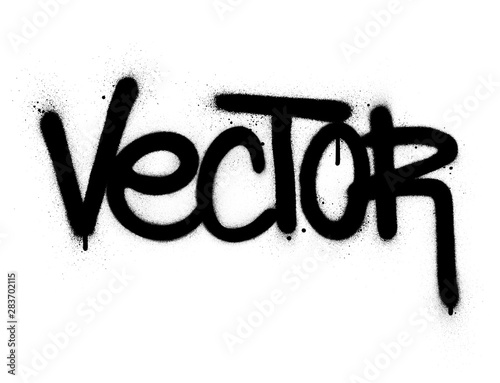 Photo  graffiti vector word sprayed in black over white
