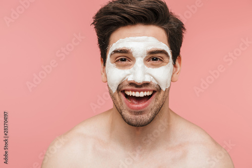 Fotografie, Obraz  Beauty portrait of a handsome shirtless brunette man