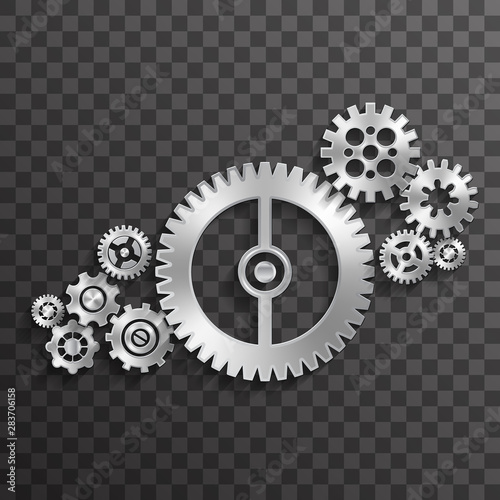 Photo  Metal gear wheels abstract transparent background decoration concept design vect
