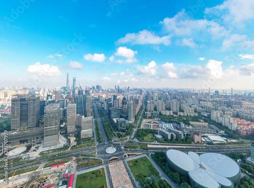 Tuinposter panoramic city skyline in shanghai china