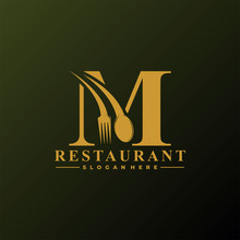 Initial Letter M Logo With Spoon And Fork For Restaurant Logo Template. Editable File EPS10.