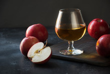 Glass With Calvados Brandy And...