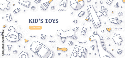 Fototapeta Kid's Toys Doodle Background Concept