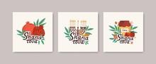Collection Of Square Greeting Cards With Shana Tova Message, Leaves, Shofar Horn, Menorah, Honey, Apples, Pomegranates. Flat Cartoon Holiday Vector Illustration For Rosh Hashanah Celebration.