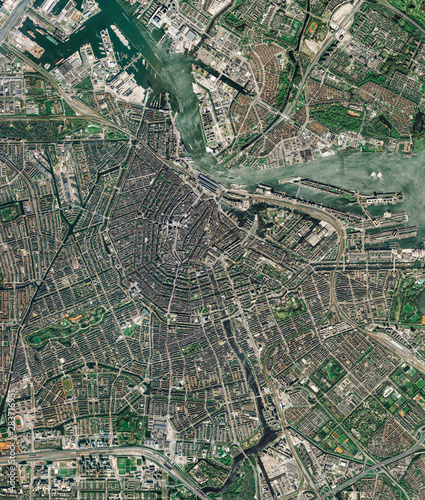 High resolution Satellite image of Amsterdam, Netherlands (Isolated imagery of the Netherlands Wallpaper Mural