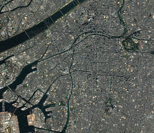 Fototapeta High resolution Satellite image of Osaka, Japan (Isolated imagery of Japan