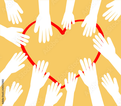 Fototapeten Künstlich Hands of people are drawn to the heart. Vector illustration.