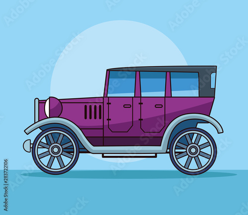 Tuinposter Oude auto s Antique classic car vehicle sideview