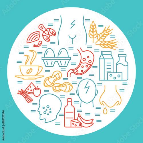 Carta da parati  Food allergy round concept banner template in line style
