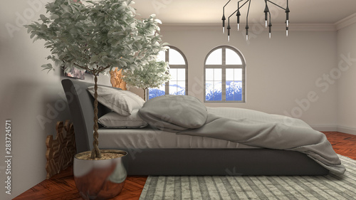 Fototapety, obrazy: Bedroom interior. Bed. 3d illustration