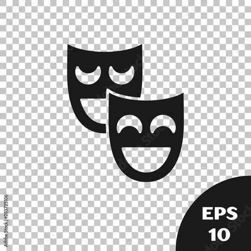 Fotografie, Obraz  Black Comedy theatrical masks icon isolated on transparent background