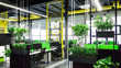 Natural style open space office interior with big loft windows