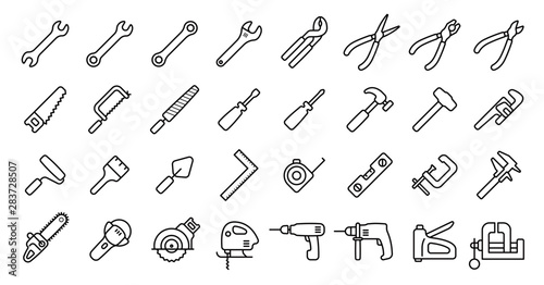 Valokuvatapetti Tool Icon Set (Thin Line Version)
