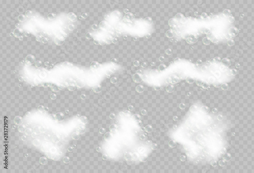 Fotografie, Tablou Soap foam with bubbles isolated on transparent background.