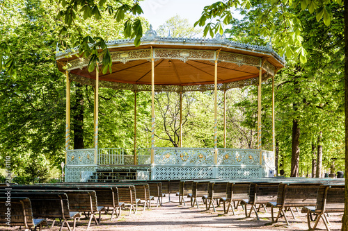 The eclectic-style bandstand in Brussels Park, Belgium, was built in 1841 by renowned belgian architect Jean-Pierre Cluysenaar Canvas Print