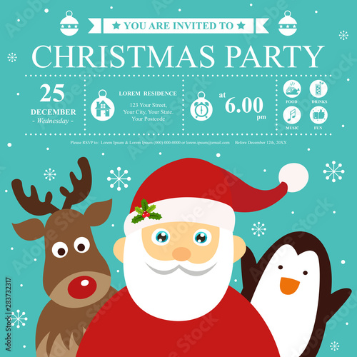 Fototapeta Christmas Invitation Card Template With Santa Claus And Friends