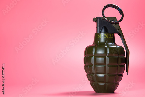Green metal hand Grenade with round pin over When I pull out it will blow Bomb O Wallpaper Mural